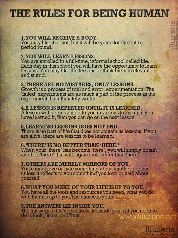 Rules For Being Human - self-improvement